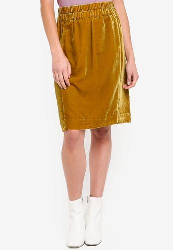 J.Crew gold Velvet Pull-On Skirt 85613AA3B32003GS_1