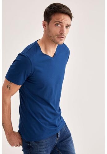 DeFacto navy Short Sleeve V-Neck Basic T-Shirt C2B76AA0E67D83GS_1
