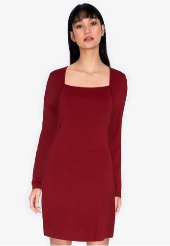 ZALORA BASICS red Square Neck Mini Dress C7982AA6335341GS_1