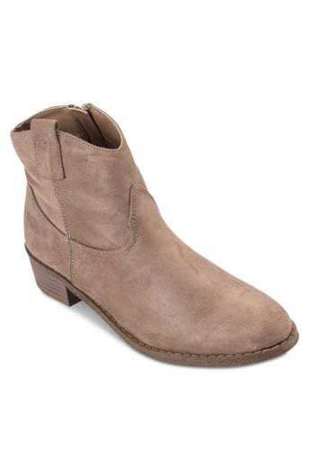 木製粗跟布料踝靴, 女esprit分店鞋, 靴子