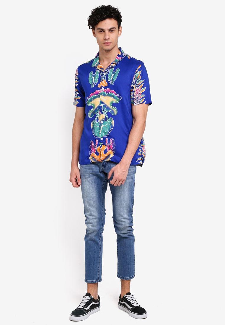 Sleeve Blue Topman Short Leaf Shirt Blue BxZ6wqUnES