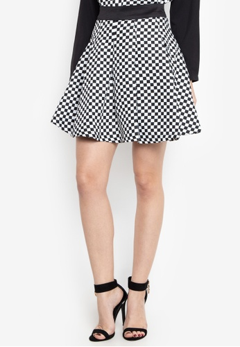 065e6303ec Chloe Edit black and white Checkered Skater Skirt 1390EAA1F7EBD2GS_1