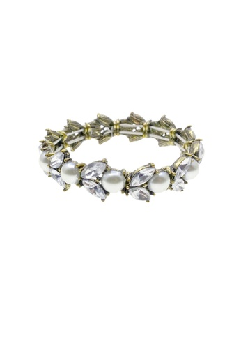 LUCCACAL white Crystal Pearl Statement Bracelet LU294AC46MYZMY_1
