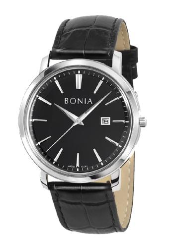Bonia Watches black Bonia 3 Hands Date Black Leather Strap 48mm Men Watch BNB10341-1332 B568BAC66CACB8GS_1