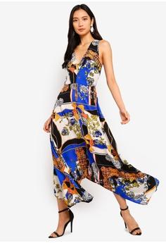 cc9a6b4d78d AX Paris blue and multi Scarf Print Maxi Dress BC468AA68227E9GS 1