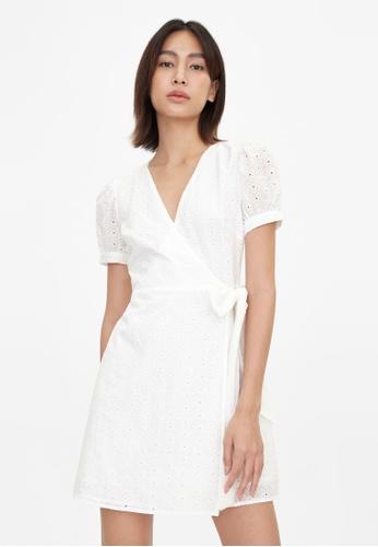 Pomelo white Mini Eyelet Side Bow Dress - White CA103AA7ED14B8GS_1