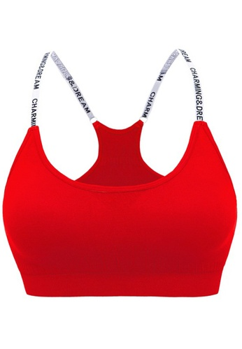 ZITIQUE red Letter Strap Sports Bra Without Steel Ring-Red E7EBCUS51274C0GS_1