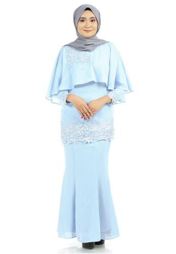 Azura Cape Kurung with patched lace from Ashura in Blue