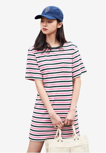NAIN pink and multi Striped Jersey Dress 803A8AA6FE24BEGS_1
