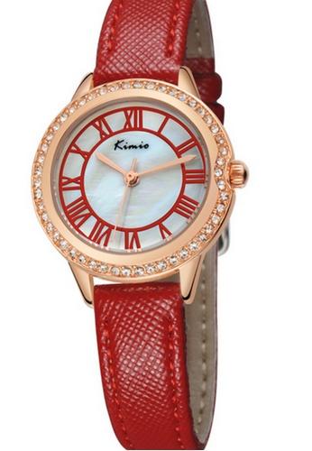 Eyki red and gold Eyki Kimio K531S Japan Quartz Leather Watch (Rose Gold Red) EY078AC39RLWMY_1