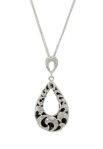 Jaysa Collection silver Wild Swirl Teardrop Palladium Necklace JA875AC0FXPNSG_1