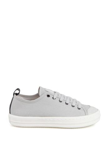 J.DAUL 灰色 經典厚底真皮帆布休閒鞋 JD556SH09Q5BTW_1