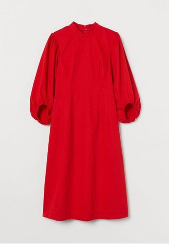 H&M red Cotton Dress 5BF17AAD591ADBGS_1
