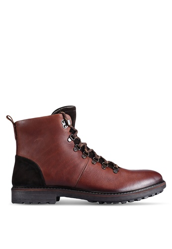 Burton Menswear London brown Brown Leather Hiking Boots AA22BSH109E7FDGS_1