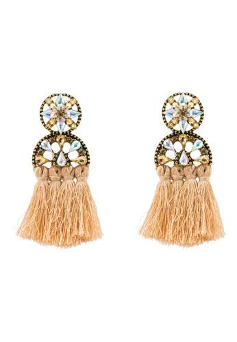 Red's Revenge brown Art Deco Gems & Tassel Dangle Earrings 4A29FACD40CBF6GS_1