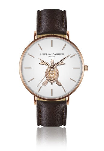 Amelia Parker white Amelia Parker Rose Turtle Brown Leather women watch 06F1CAC12C0725GS_1