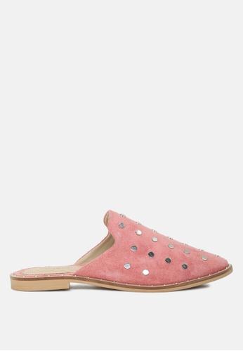 RAG & CO 粉紅色 真皮铆钉拖鞋 6108CSHA239C50GS_1