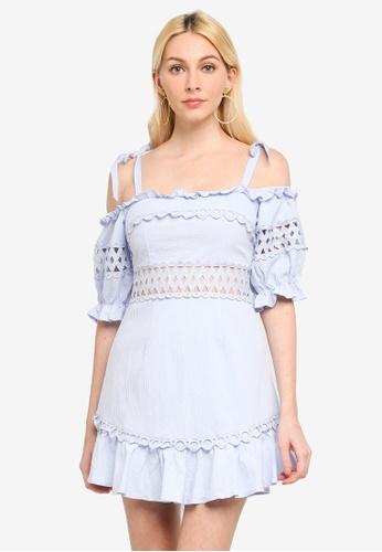 INDIKAH blue Cold Shoulder Ruffle Dress 049DEAA5868D5FGS_1