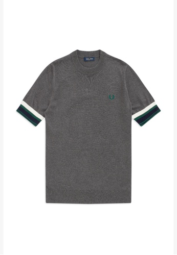 Fred Perry grey K9536 - Bold Cuff Knitted T-Shirt - (Graphite Marl) 9656DAA3CE94D3GS_1