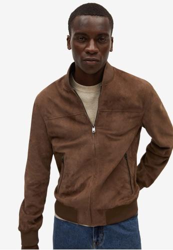MANGO Man 褐色 Bomber-Style 麂皮 外套 1E826AA0ADD405GS_1