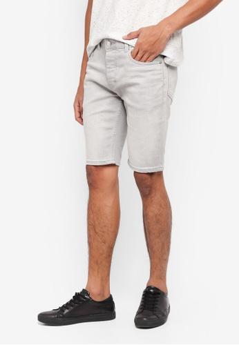 Topman 灰色 緊身牛仔短褲 BF027AADF0989CGS_1