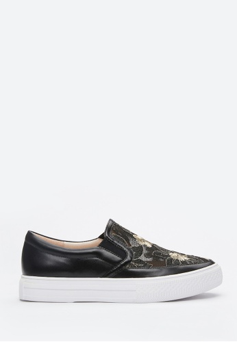 PAZZION black Floral Embroidery Slip On 55DADSHCAEBFC1GS_1