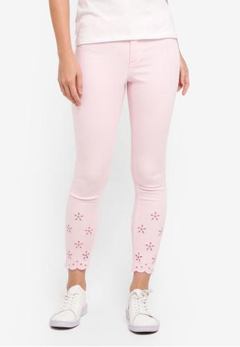 Dorothy Perkins pink Petite Pink Broderie Jeans 98EC4AAF206C54GS_1