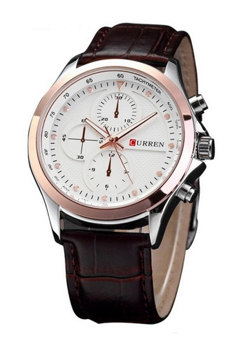 curren white and gold Curren 8138 Men's Leather Watch (Gold White) CU537AC31RQAMY_1