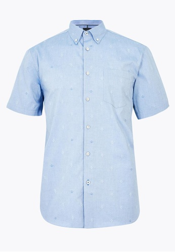 MARKS & SPENCER blue M&S Pure Cotton Anchor Print Shirt 40F74AAFCD099AGS_1