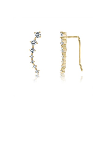 Glamorousky white 925 Sterling Silver Plated Gold Simple Geometric Line Earrings with Austrian Element Crystal 8BA65ACB69C1C7GS_1