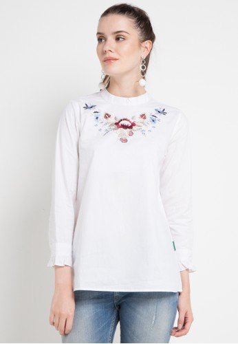 Point One white NADDA White Blouse 31BD6AA16553D2GS_1