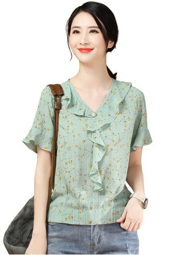 A-IN GIRLS green Elegant Floral Chiffon Blouse 5AFAEAA2F55A80GS_1