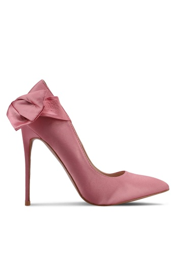 Velvet pink Heels with Bow Detail 902ABSH0532226GS_1