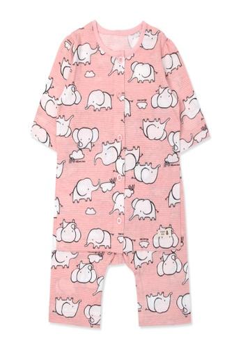 Organic mom pink Organic Cotton Elsa Elephant3/4 length sleeves  PJs E96C3KA10660EDGS_1