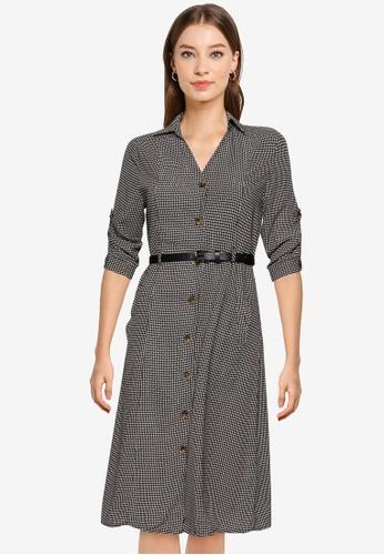 ZALORA WORK multi Midi Shirt Dress With Belt 19A58AADD18D7EGS_1