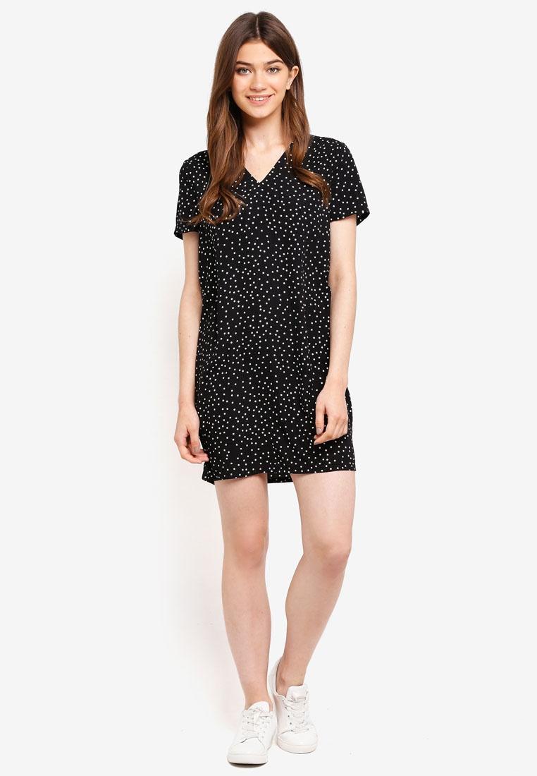 Something Polka Black Detailed Borrowed Shift Dots Dress Strap Back x0RnAqIR