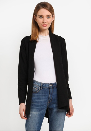 ZALORA black Draped Collar Cardigan B7AC8AA38B48BEGS_1