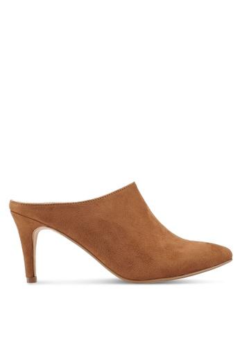 ZALORA 褐色 Slip On Heeled Mules E8935SH615B602GS_1