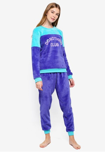 Chelsea Peers purple Do Nothing Club Sequin Pyjamas Set 1660BAA0DA8F38GS_1