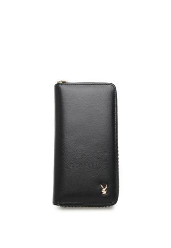 Playboy black GENUINE LEATHER RFID ZIPPER LONG WALLET 594BDAC29C4F15GS_1