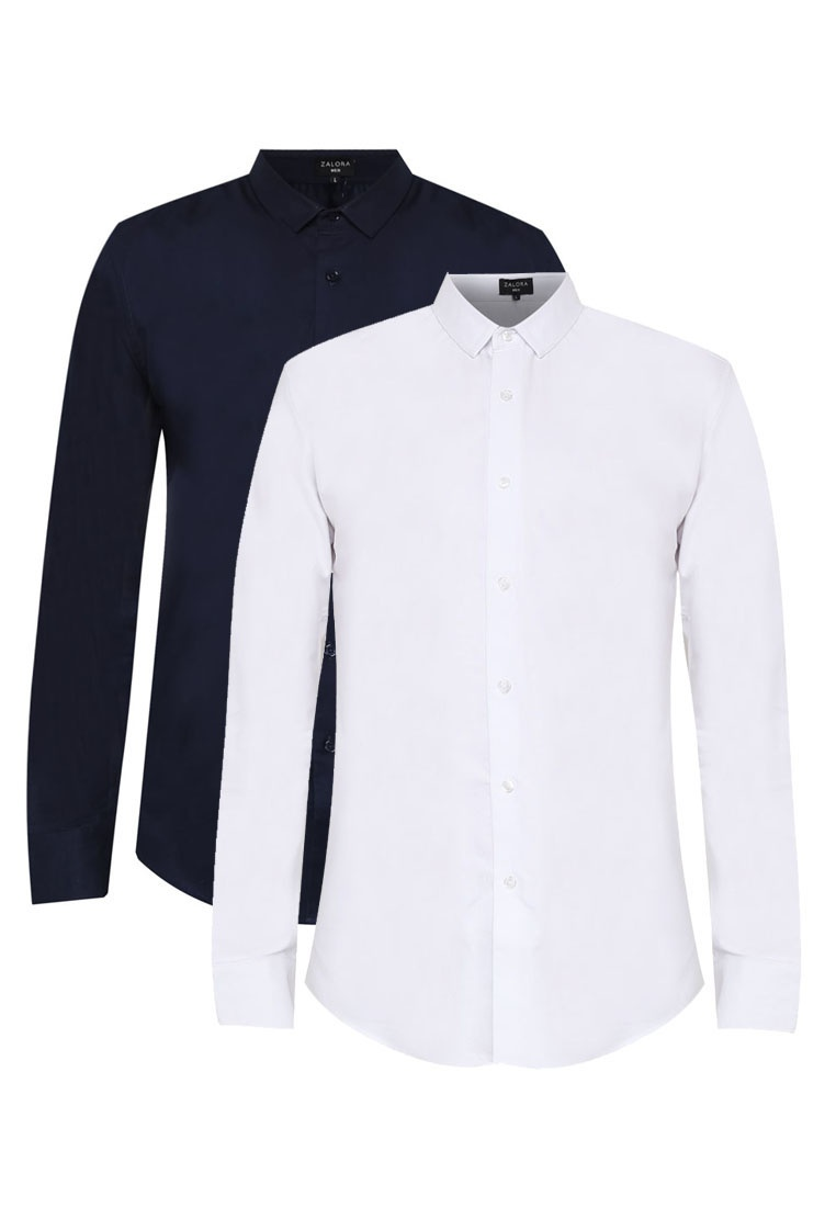 2 Sleeve Oxford ZALORA Shirt Pack White Long Slim Navy Fit vwxfqpva6