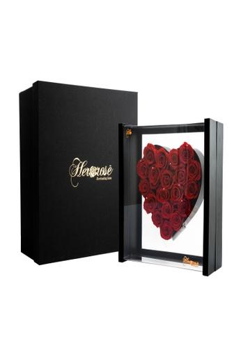 Her Jewellery red Everlasting Preserved Rose with LED Lights - Angel Heart (Red + Black Frame) 16040HL5033732GS_1