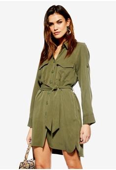be3e17dc53c TOPSHOP green Utility Mini Shirt Dress 5F14CAA2ECE8F2GS 1