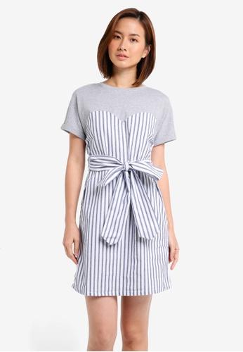 ZALORA grey Mixed Fabric T-Shirt Dress F5B4FAAC66FDDEGS_1