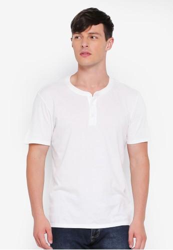 GAP white Essential Henley T-Shirt 9C44CAAE0EA2C4GS_1
