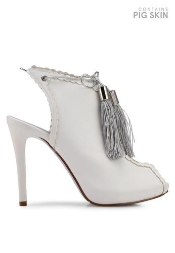 Betsy 白色 露趾踝帶細跟靴 1391FSH6907606GS_1