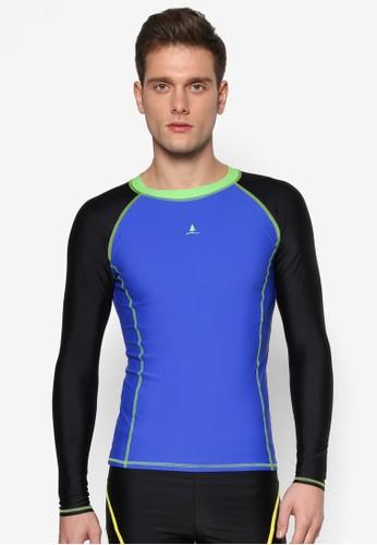 色塊拼接長袖高領esprit 台灣泳衣, 服飾, 運動
