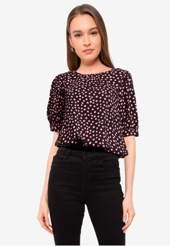 Dorothy Perkins black Spotted Print 3/4 Sleeve Blouse F6157AA282D179GS_1