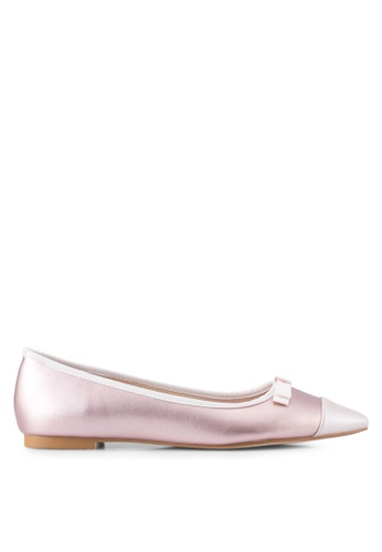 Velvet 粉紅色 Faux Leather Point Toe Flats C0A63SHDD35AD8GS_1