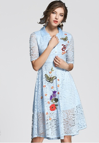 NBRAND blue Lace Butterfly Embroidery Dress NB356AA0GYYHSG_1